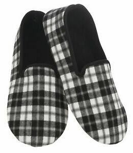 Black plaid men's snoozie slippers