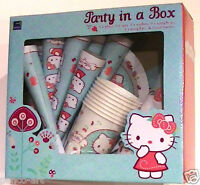 Hello Kitty Party in a Box 8 ea hats plates napkins horns cups & one 3.6m banner