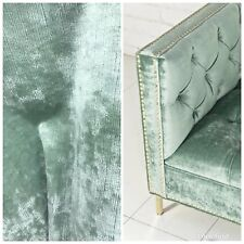 Designer Antique Inspired Velvet Fabric - Antique Mint Green - Upholstery Weight