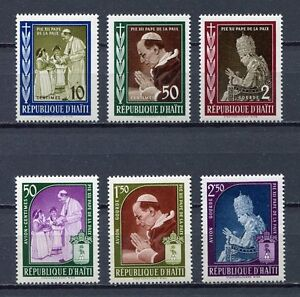 36474) HAITI 1959 MNH** Pope Pio XII 6v.