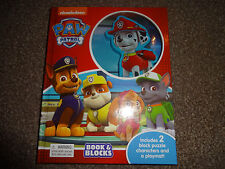 PAW PATROL BOOK & BLOCKS INCLUDES 2 BLOCK PUZZLE CHARACTERS & A MAT FREE P+P