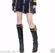 Versace Military black leather knee boots with embroidery 40 - 10