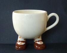 Walking Ware Mug Cup Feet Shoes Socks Polka Dots Cream Brown 7 oz Porcelain Vtg