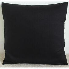 "24"" Cushion Cover Plain Block Solid Black Cotton Drill 24x24 Square 60cm"