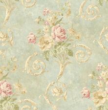 Tapete, Luxustapete, Blumenprint, Antik, Marmor, schilfgrün, rosé, Glanz, edel