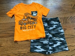 Jumping Beans Boys 2 Pc Orange Shirt Black Camo Shorts Outfit Size 6 VGUC