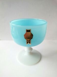 Vintage Murano Carlo Moretti Style Opaline Florentine Glass Goblet with Label
