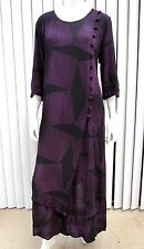CAT IN THE LOTUS 3/4 SLEEVE SCOOP NECKLINE MAXI  DRESS SIZE M BLACK PURPLE