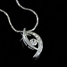 18K White Gold gp Round Cut lab Diamond Angel Eye Pendant Necklace