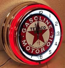 "18"" TEXACO Sign Gasoline Motor Oil Gas Station Double Neon Clock"