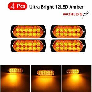 4pcs 12 Strobe Led Amber Hazard Beacon Emergency Flashing Side Marker Light Bars