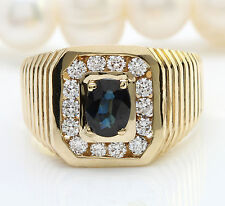 2.00CTW Natural Blue Sapphire and DIAMOND in 14K Yellow Gold Men Ring