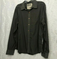 Fox brown custom built l/s shirt embroidered shoulder front and back. XL