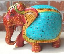 Vintage Handmade Carved 7� Turquoise Blue & Gilt Wood Elephant Figurine Statue