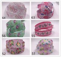 Free 2-10 Yard 1'' 25MM Printed Grosgrain Ribbon Hair Bow Sewing Ribbon Crafts