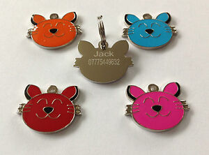 Pet ID Dog Cat Tag 23mm Quality Dog Cat Face Design. FREE ENGRAVING