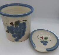Hand Thrown Studio Art Pottery Crock & Spoon Rest Grapes Becki Dahlstedt Signed