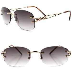 Old Vintage Fashion Womens Tinted Lens Rimless Gold 1.00 Reading Sun Glasses