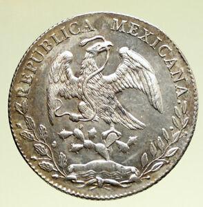 1877 Mo AM MEXICO Large Eagle Sun Antique Mexican Silver 8 Reales Coin i95168