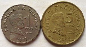 Philippine 2 pcs coin 1 Piso (2002) & 5 Piso (2009)