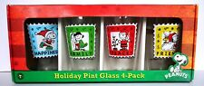 New ListingPeanuts Characters Holiday Pint Glasses Lucy Charlie Brown 4 Pack Made in Usa