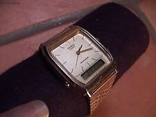 vintage mens casio aq305 digital analog quartz watch gold tone