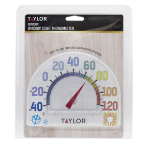 """#5323 TAYLOR Seasons WINDOW CLING 7"""" Outdoor Thermometer No Tool Needed EASY!!!"""