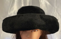 Vintage 1960's La Vienne Made In Austria Black Faux Fur Upturned Brim Dressy Hat