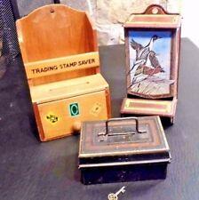 ANTIQUE VINTAGE TIN MATCH BOX HOLDER / WOOD STAMP BOX / RARE BANK w/ KEY