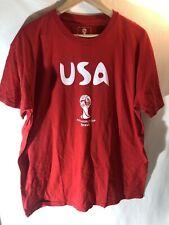 Mens USA Soccer FIFA World Cup Brazil 2014 Red Short Sleeve T-Shirt Fits XL