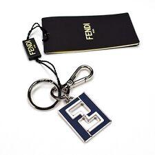 5599592910 NWT $370 FENDI Navy Leather Silver Metal FF Monogram Logo Keychain Men  AUTHENTIC