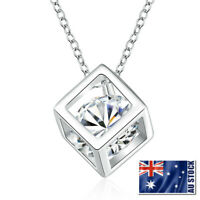 Stunning 925 Sterling Silver Filled Crystal Cubic Drop Charm Pendant Necklace