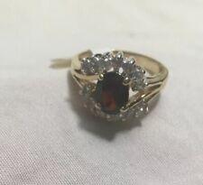Garnet & Clear Rhinestone Ring Sz 7 14k Yellow Gold Plate