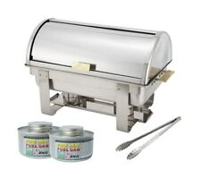 8 Qt S/S Roll-Top Chafer with 2 Chafing Dish Fuels and Serving Tongs