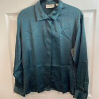 Ellen Tracy Womens Button Front Shirt Blue Geometric Silk Long Sleeve Petites 6