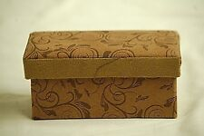 Classic Style Soft Faux Suede Decorative Storage Box Brown w Floral Designs a