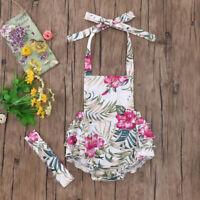 Fubin Baby Girl Floral Print Ruffles Jumpsuit Romper Summer Clothes + Headband