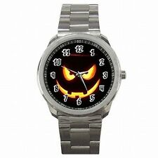 Halloween Scary Jack O Lantern Punpkin Holiday Stainless Steel Watch