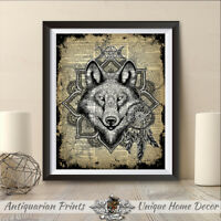 Dream catcher Print on Antique Dictionary Book Page Wolf Print Picture Decor