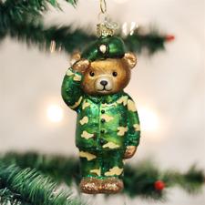 OLD WORLD CHRISTMAS ARMY BEAR SOLDIER VETERAN PATRIOTIC XMAS ORNAMENT 12402