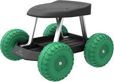 Rolling Cart Stool w/ Wheels Seat Durable Plastic Gardening Accessories Tool