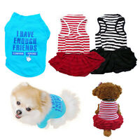 Pet Puppy Clothes Summer Cotton Dress Shirt Small Dog Cat T Shirt Apparel V