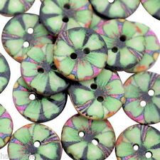 40PCs Coconut Shell Buttons Sewing Scrapbooking Patterned Green 15mm Dia.