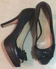 Talbots Black Leather Peep Toe High Heeled Shoes Size 11 B Preowned