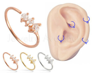22g 3-stone Tragus Cartilage Earring .925 Sterling Silver Twist Nose Hoop Ring