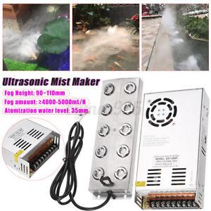 10 Head Ultrasonic Mist Maker Fogger Humidifier Water Pond Fountain Transformer