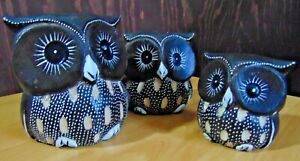 Set of 3 owl family hand carved painted wooden wood ornaments gift ~ 9, 8 & 6cm