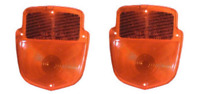 SET OF 2 NORS 1955-67 FORD TRUCK SHIELD TYPE STOP RED TAIL LENS ONLY [TMC-301]