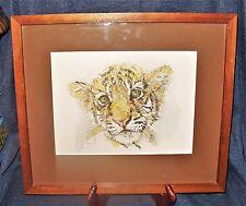 Original Framed & Matted Signed A/P Tiger Cub Watercolor Painting Sam Ruder EUC