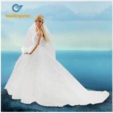 m1 BARBIE ABITO SPOSA CERIMONIA VELO E BOUQUET - WEDDING BARBIE DRESS